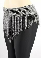 Bead Belly Dance Dancer Samba Costumes Hip Scarf Skirt  - silver