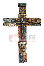 Extra Large Inspirational Layered Wall Cross Faux Wood Tiles Grace Faith Love