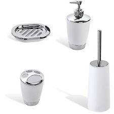 Accessori d'appoggio color bianco cromo in set da 4 pezzi arredo bagno moderno