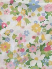 Vintage FULL FLAT SHEET Flower Power No-Iron CANNON Monticello Floral Mod Craft