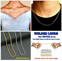 """Super Strong """"WELDED LINK"""" 1 mm Surgical Steel HYPOALLERGENIC Curb Link Chains"""