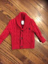 POLO RALPH LAUREN BABY BOYS  RED CARDIGAN SWEATER Size 6M  LKNU L@@K