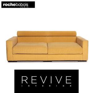 Roche Bobois Stoff Sofa Gelb Zweisitzer Funktion Couch #14508