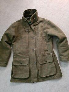 Womans Ladies Green Belt Coat Size 12 Green Tweed Jacket Outdoor