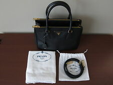 b7d6619afe59 Prada Saffiano Lux Small Double Zip Black Leather Tote   Handbag