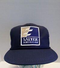 Vtg Salyer American Logo Patch StrapBack Hat Cap Farm Farmer K-Products Usa Nos