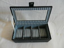 MELE & CO GLASS LIDDED DARK BLUE 4 WATCH / JEWELLERY STORAGE BOX