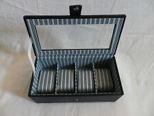 MELE & CO GLASS LIDDED DARK BLUE 4 WATCH / JEWELLERY STORAGE BOX
