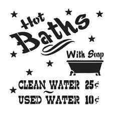 STENCIL **Hot Baths with Soap** Primitive Shabby Bathroom