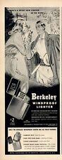 1946 Berkeley PRINT AD Features Windproof Lighters Man Lighting Lady's Cigarette