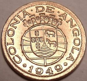 Rare Gem Unc Angola 1949 10 Centavos~300th Anniversary - Revolution of 1648~Fr/S