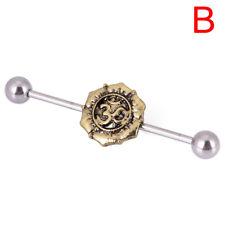 Women Surgical Steel Industrial Bar Scaffold Ear Barbell Ring Piercing JewelrySR