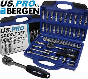 "BERGEN Socket Set 46pc 1/4"" Drive Tool Set With Ratchet Torx Hex UJ Adaptor PZ2"