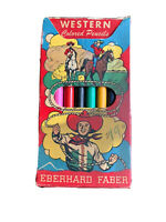 Vintage 1950's Eberhard Faber Western Colored Pencils Box W Pencils Children