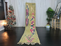 "Handmade Moroccan Boujad Runner Rug 2'3""x11'6"" Green Abstract Berber Wool Carpet"