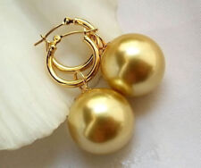 Wedding Huge AAAA+ 14 mm South Sea Shell Pearl 18K GP Gold Hoop Dangle Earring