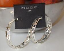 """bebe Openwork Silver tone Large Hoop Earrings 2.25"""" - $34 NWT"""