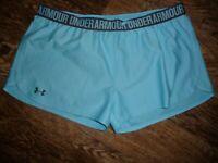 Under Armour Heat Gear blue athletic shorts running walking aerobics XL EUC
