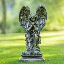 Beeld Engel, Bronskleurig, Knielende Engel, Decoratie woning, Tuinbeeld, Angel,