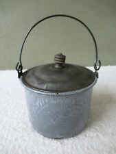 Antique Berry Bucket Graniteware Lunch Pail Tin Lid Primitive Gray Enamel Agate