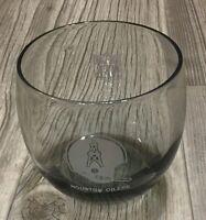 Vintage 1970's Houston Oilers NFL Rocks Glass Smoked Low Ball Glass Bar Ware EUC