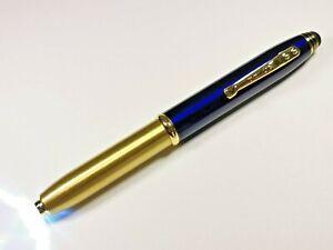 3 in 1 Kugelschreiber mit Wunsch Gravur Led Licht Touch Pen Edel Blau Gold