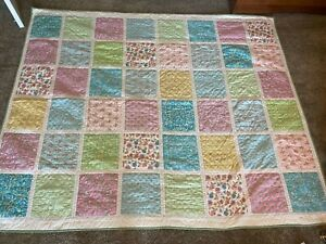 Pottery Barn Kids  Patchwork Twin Size Quilt  Pink/Green Gingham Floral Pastel