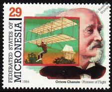 OCTAVE CHANUTE (Aviation Pioneer) & Biplane Hang Glider Aircraft Stamp