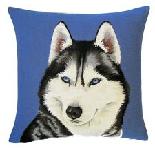 "18"" Husky (Front) Blue Woven Belgian Tapestry Cushion 45cm Belgium Dog"