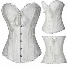 UK Women Bustier Burlesque Boned Corset Top Fancy dress basque lingerie Shaper