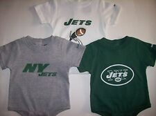 New York Jets Bodysuits 3pc Set 0-3 Mos Team NFL Reebok Cotton Poly Assorted