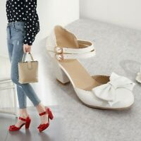 Casual Women Lolita Mary Jane Round Toe Bowknot Block Heels Buckle Strap Shoes