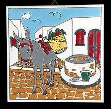 "Greek Hand Painted Knossos Wall Tile 6"" Donkey Katsidoniotis Greece Vtg Ceramic"