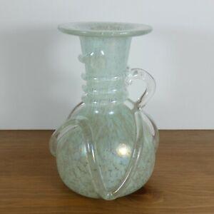 Iridescent Lustre Glass Vase Jug Twist Swirl Handle Vintage Art Nouveau Style