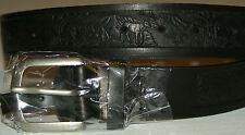 NEW BLACK LEATHER BELT W/BUCKLE  WILDLIFE 34 X 1 1/2  FREE S/H