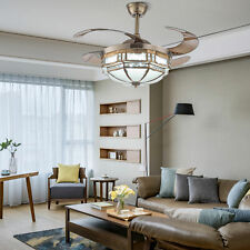42'' Tiffany Retro Ceiling Fan Light Chandelier Lamp with 4 Retractable Blades