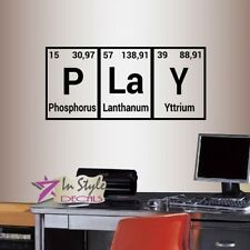 Vinyl Decal Play Periodic Table Element Chemistry Class Wall Sticker Decor 2130