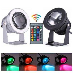 DC12V Underwater 10W RGB LED Light Garden Fountain Spotlight w/ Remote Control