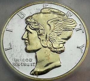 ND MERCURY DIME DESIGN .999 SILVER ROUND ICG PR GENUINE GOLD GILDED