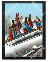 Historic Tobogganing Rabbits Advertising Postcard