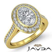 Oval Diamond Bezel Halo Pave Set Engagement Ring GIA G VS2 18k Yellow Gold 2ct