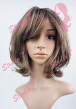 W145 Ash Brown Short Curl Sythetic Wig - studio7-uk