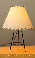 CLEAN! MID CENTURY MODERN ATOMIC TRIPOD LAMP 50'S LEATHER SHADE VTG LIGHT RETRO