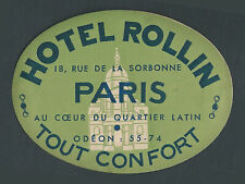Hotel Rollin PARIS France – vintage luggage label