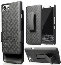 Black Kickstand Case Cover + Belt Clip Holster Combo for BlackBerry KEYone