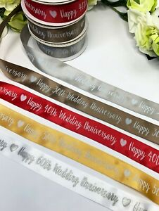 Wedding Anniversary Ribbon 25th 30th 40th 50th 60th Ruby Pearl Golden Silver Bow