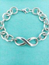 "Genuine Rare Tiffany & Co Silver Chunky Infinity Link Bracelet 8"" VG Condition"