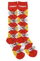 Kansas City Chiefs NFL For Bare Feet Argyle Women's Knee High Socks SZ Med