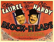 "LAUREL & HARDY ""BLOCKHEADS""  VINTAGE MOVIE POSTER METAL PLAQUE: HOME DECOR GIFT"