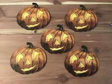 Vintage Antique Halloween Pumpkin Jack-O'-Lantern Die Cuts 5 Unused 1930s